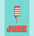 june summer ice cream vector image
