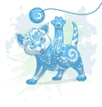 Kitten with abstract ornament vector image vector image