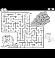 maze game with beaver and wood logs coloring book vector image vector image