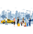 people waiting taxi on the vector image vector image