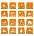princess doll icons set orange square vector image vector image