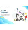 qr code verification website landing page vector image vector image