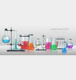 realistic laboratory chemistry lab equipment 3d vector image vector image