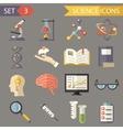 Retro Flat Science Icons and Symbols Set vector image