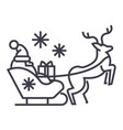 santa claus in a sleigh with a deer line vector image vector image
