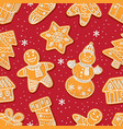 seamless pattern of christmas gingerbread cookies vector image