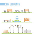 set of city park elements - modern cartoon vector image vector image