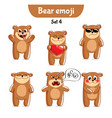 set of cute bear characters set 4 vector image vector image