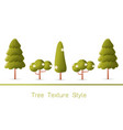 set of green forest trees and bushes vector image