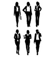 six businesswomen silhouettes vector image vector image