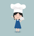 small girl wear chef character vector image vector image