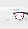 smart glasses with map and red pinpoint on screen vector image