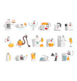 smiling household appliances set for label design vector image