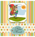 tourist man traveling with backpack vector image vector image
