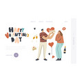 valentine celebration landing page template vector image vector image