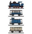 vintage blue steam train vector image