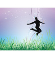 young man jumping on the field vector image vector image