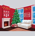 colorful christmas room interior with red walls vector image
