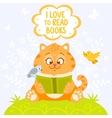 cat with book vector image