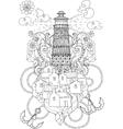 Hand drawn doodle outline lighthouse boho vector image