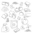 Set of doodle money symbol vector image