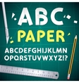 Cut Out Paper Alphabet and Equipment Set vector image