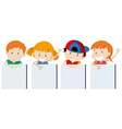Boys and girs holding signs vector image vector image
