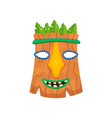 Brown african mask with leaves and smiling mouth