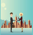 business men cooperate about business in the city vector image