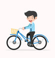 businessman riding on a blue retro bicycle vector image