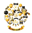 Carnival invitation card with gold icons and