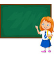 cartoon schoolgirl in uniform writing vector image