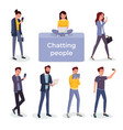 chatting people using different gadgets vector image