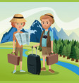 couple tourists traveler suitcases luggage map vector image vector image