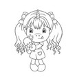 cute baunicorn holding ice cream coloring page vector image