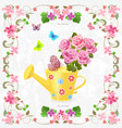cute can watering with bouquet of lovely roses vector image vector image