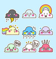 cute cloud sticker cloud emoticon vector image