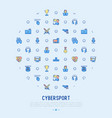 cybersport concept in circle with thin line icons vector image vector image