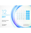 Desk Calendar for 2017 Year December Week Starts vector image