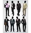 eight businessman silhouettes vector image