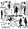 Fashion advertisement with women silhouettes vector image vector image