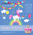 flat happy birthday colorful template vector image vector image