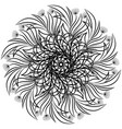 floral ornamental mandala round ornament black vector image