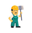 friendly construction worker man with tools vector image
