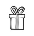 gift icon simple present box with ribbon hand vector image