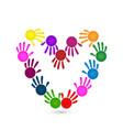 handprints creating a heart symbol vector image vector image