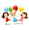 happy girls with balloons in their hands vector image