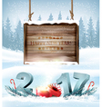 Happy New Year 2017 background with a wooden sign vector image vector image
