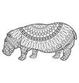 Hippo standing animal naturalist wildlife style vector image