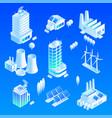 intelligent building icon set isometric style vector image